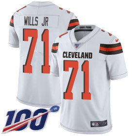 Wholesale Cheap Nike Browns #71 Jedrick Wills JR White Youth Stitched NFL 100th Season Vapor Untouchable Limited Jersey