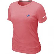 Wholesale Cheap Women's Nike Detroit Lions Chest Embroidered Logo T-Shirt Pink