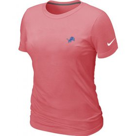 Wholesale Cheap Women\'s Nike Detroit Lions Chest Embroidered Logo T-Shirt Pink