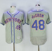 Wholesale Cheap Mets #48 Jacob DeGrom Grey Flexbase Authentic Collection Stitched MLB Jersey