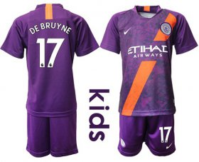 Wholesale Cheap Manchester City #17 De Bruyne Third Kid Soccer Club Jersey