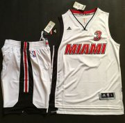 Wholesale Cheap Heat #3 Dwyane Wade White Throwback A Set Stitched NBA Jersey