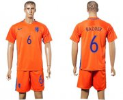 Wholesale Cheap Holland #6 Bazoer Home Soccer Country Jersey