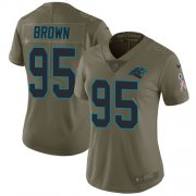 Wholesale Cheap Nike Panthers #95 Derrick Brown Olive Women's Stitched NFL Limited 2017 Salute To Service Jersey