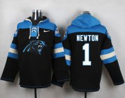 Wholesale Cheap Nike Panthers #1 Cam Newton Black Player Pullover NFL Hoodie