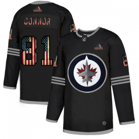 Wholesale Cheap Winnipeg Jets #81 Kyle Connor Adidas Men\'s Black USA Flag Limited NHL Jersey