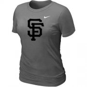 Wholesale Cheap Women's San Francisco Giants Heathered Nike Dark Grey Blended T-Shirt