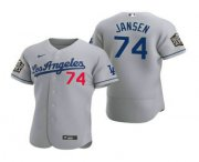 Wholesale Cheap Men's Los Angeles Dodgers #74 Kenley Jansen Gray 2020 World Series Authentic Road Flex Nike Jersey