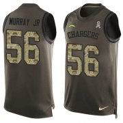 Wholesale Cheap Nike Chargers #56 Kenneth Murray Jr Green Men's Stitched NFL Limited Salute To Service Tank Top Jersey