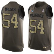 Wholesale Cheap Nike Patriots #54 Tedy Bruschi Green Men's Stitched NFL Limited Salute To Service Tank Top Jersey