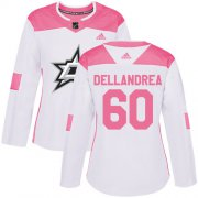 Cheap Adidas Stars #60 Ty Dellandrea White/Pink Authentic Fashion Women's Stitched NHL Jersey