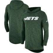 Wholesale Cheap Men's New York Jets Nike Green Sideline Slub Performance Hooded Long Sleeve T-Shirt