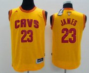 Wholesale Cheap Men's Cleveland Cavaliers #23 LeBron James Yellow 2017 The NBA Finals Patch Jersey