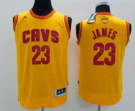 Wholesale Cheap Men\'s Cleveland Cavaliers #23 LeBron James Yellow 2017 The NBA Finals Patch Jersey