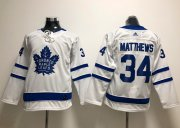 Wholesale Cheap Adidas Maple Leafs #34 Auston Matthews White Road Authentic Stitched Youth NHL Jersey