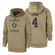 Wholesale Cheap Oakland Raiders #4 Derek Carr Nike Tan 2019 Salute To Service Name & Number Sideline Therma Pullover Hoodie