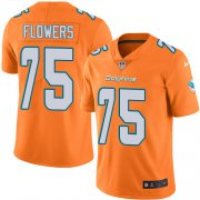 Wholesale Cheap Nike Dolphins #75 Ereck Flowers Orange Men's Stitched NFL Limited Rush Jersey
