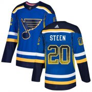Wholesale Cheap Adidas Blues #20 Alexander Steen Blue Home Authentic Drift Fashion Stitched NHL Jersey