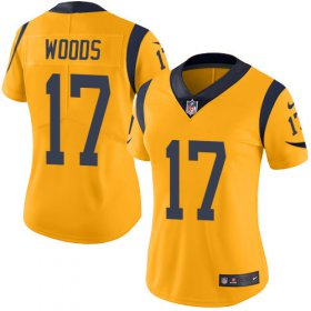 Wholesale Cheap Nike Rams #17 Robert Woods Gold Women\'s Stitched NFL Limited Rush Jersey