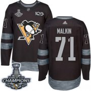 Wholesale Cheap Adidas Penguins #71 Evgeni Malkin Black 1917-2017 100th Anniversary Stanley Cup Finals Champions Stitched NHL Jersey