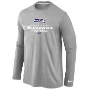 Wholesale Cheap Nike Seattle Seahawks Critical Victory Long Sleeve T-Shirt Grey