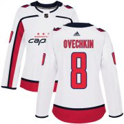 Wholesale Cheap Adidas Capitals #8 Alex Ovechkin White Road Authentic Women's Stitched NHL Jersey