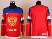 Wholesale Cheap 2014 Olympic Team Russia Blank Red Stitched NHL Jersey