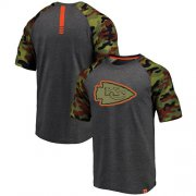 Wholesale Cheap Kansas City Chiefs Pro Line by Fanatics Branded College Heathered Gray/Camo T-Shirt
