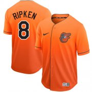 Wholesale Cheap Nike Orioles #8 Cal Ripken Orange Fade Authentic Stitched MLB Jersey
