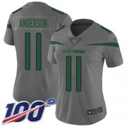 Wholesale Cheap Nike Jets #11 Robby Anderson Gray Women's Stitched NFL Limited Inverted Legend 100th Season Jersey
