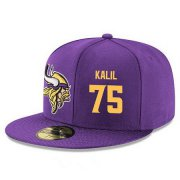 Wholesale Cheap Minnesota Vikings #75 Matt Kalil Snapback Cap NFL Player Purple with Gold Number Stitched Hat