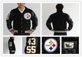 Wholesale Cheap Mitchell And Ness NFL Pittsburgh Steelers #43 Troy Polamalu Authentic Wool Jacket