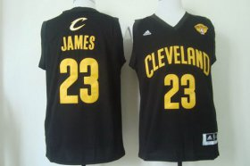 Wholesale Cheap Men\'s Cleveland Cavaliers #23 LeBron James 2015 The Finals Black With Gold Jersey