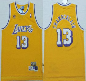 Wholesale Cheap Los Angeles Lakers #13 Wilt Chamberlain 1996-97 Yellow Hardwood Classics Soul Swingman Throwback Jersey