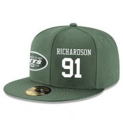 Wholesale Cheap New York Jets #91 Sheldon Richardson Snapback Cap NFL Player Green with White Number Stitched Hat