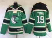 Wholesale Cheap Blackhawks #19 Jonathan Toews Green Sawyer Hooded Sweatshirt Stitched Youth NHL Jersey