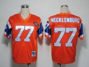 Wholesale Cheap Mitchel and Ness Broncos #77 Karl Mecklenburg Orange With 75 Anniversary Patch Stitched Throwback NFL Jersey