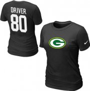 Wholesale Cheap Women's Nike Green Bay Packers #80 Donald Driver Name & Number T-Shirt Black