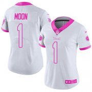 Wholesale Cheap Nike Titans #1 Warren Moon White/Pink Women's Stitched NFL Limited Rush Fashion Jersey