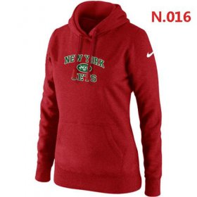 Wholesale Cheap Women\'s Nike New York Jets Heart & Soul Pullover Hoodie Red