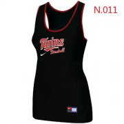 Wholesale Cheap Women's Nike Minnesota Twins Tri-Blend Racerback Stretch Tank Top Black