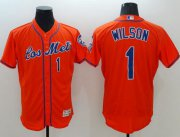 Wholesale Cheap Mets #1 Mookie Wilson Orange Flexbase Authentic Collection Los Mets Stitched MLB Jersey