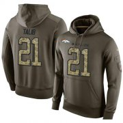 Wholesale Cheap NFL Men's Nike Denver Broncos #21 Aqib Talib Stitched Green Olive Salute To Service KO Performance Hoodie