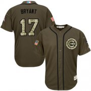Wholesale Cubs #17 Kris Bryant Green Salute to Service Stitched Youth Baseball Jersey