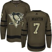 Wholesale Cheap Adidas Penguins #7 Paul Martin Green Salute to Service Stitched NHL Jersey