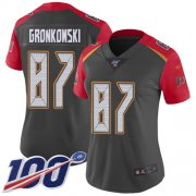 Wholesale Cheap Nike Buccaneers #87 Rob Gronkowski Gray Women's Stitched NFL Limited Inverted Legend 100th Season Jersey