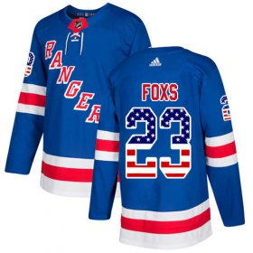 Wholesale Cheap Adidas Rangers #23 Adam Foxs Royal Blue Home Authentic USA Flag Stitched Youth NHL Jersey
