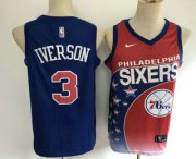 Wholesale Cheap Men's Philadelphia 76ers #3 Allen Iverson Red with Blue Salute Nike Swingman Stitched NBA Jersey