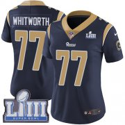 Wholesale Cheap Nike Rams #77 Andrew Whitworth Navy Blue Team Color Super Bowl LIII Bound Women's Stitched NFL Vapor Untouchable Limited Jersey