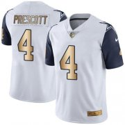 Wholesale Cheap Nike Cowboys #4 Dak Prescott White Youth Stitched NFL Limited Gold Rush Jersey